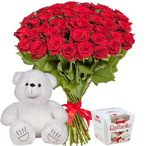 "ajnj njdfhf 51 роза, мишка и ""Raffaello"""