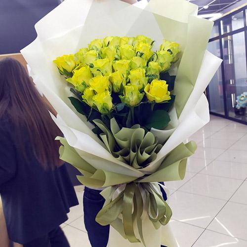 Фото товара 25 желтых роз