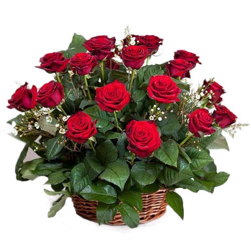 букет 21 красная роза в корзине картинка