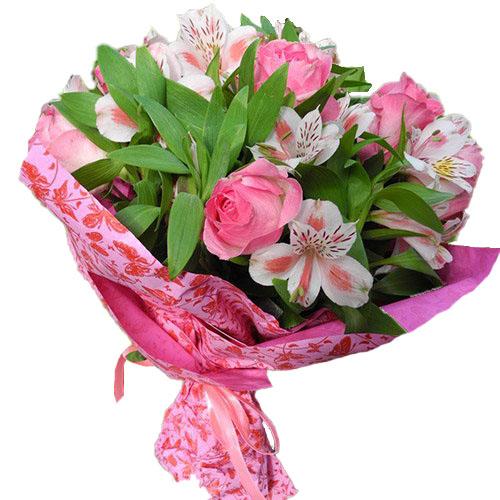 букет Розовый цвет розы и альстромерии с зеленью