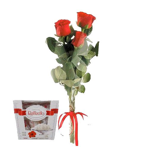 Фото товара 3 красные розы с конфетами
